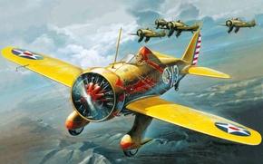 Картинка самолет, группа, истребитель, арт, Мичиган, Boeing, истребительная, двигателем, цельнометаллический, охлаждения, девятицилиндровым, SR-1340E., с радиальным, P-26A, …