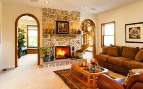 Картинка дизайн, диван, вилла, интерьер, лестница, камин, гостиная