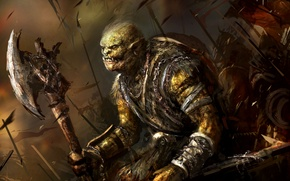 Обои Axe, Battlefield, Fantasy, Orc, Weapon, Background, Artwork, Art, Orcs, Warriors