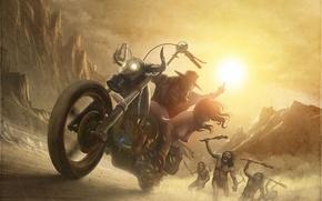 Картинка девушка, погоня, арт, мотоцикл, парень, похищение, обнажена, дикари