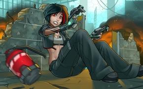 Картинка будущее, оружие, опасность, женщина, пистолеты, граната, future, Art, купол, перестрелка, women, RoninDude, неоновая подсветка, армейские …