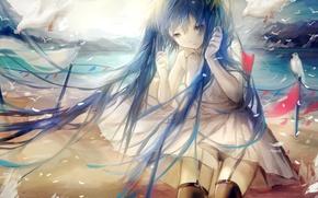 Картинка море, вода, девушка, птицы, берег, аниме, арт, vocaloid, hatsune miku, sayuki