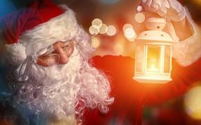 Картинка блики, огонь, праздник, шапка, Новый Год, очки, фонарь, перчатки, шуба, борода, Дед Мороз