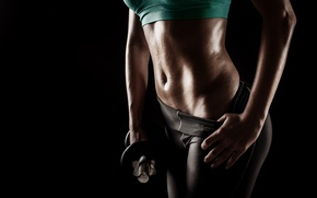 Обои perspiration, sportswear, fitness, dumbbell, workout, woman