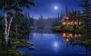 Обои light, moon, house, forest, night, lake, painting, moonlight, Mark Daehlin, ducks, Moonlight Serenade
