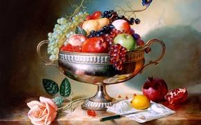 Картинка малина, лимон, бабочка, яблоки, роза, клубника, виноград, нож, ваза, груша, натюрморт, живопись, Алексей Антонов, painting, ...