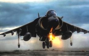 Картинка Вечер, Самолет, Истребитель, Крылья, Авиация, ВВС, Harrier, Бомбардировщик, Взлет, Харриер, GR Mk-7