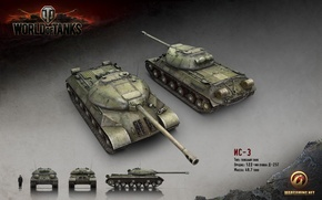 Картинка танк, СССР, танки, рендер, WoT, World of Tanks, ИС-3, Wargaming.net