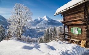 Картинка дом, snow, снег, зима, nature, снежинки, winter