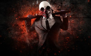 Картинка Wolf, Game, Background, Weapon, Money, Mask, Shotgun, Payday: The Heist, Video Game, Overkill Software, Bank …