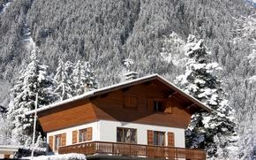 Картинка зима, снег, пейзаж, горы, природа, дом, альпы