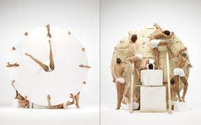 Обои часы с попами, гуманоидные часы, 11:50, Clocks