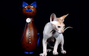 Обои кошка, фон, статуэтка
