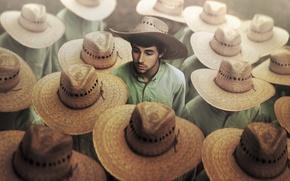 Картинка толпа, парень, шляпы