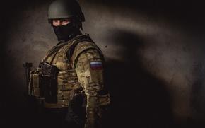 Картинка маска, солдат, автомат, боец, Россия, военный, Рысь, МВД, СОБР, комуфляж