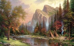 Картинка горы, река, дым, водопад, костер, живопись, Томас Кинкейд, painting, Thomas Kinkade, юрта, шалаш, The Mountains …