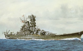 Картинка корабль, арт, флот, военный, линкор, японский, battleship, WW2, Yamato, IJN