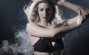 Картинка smoke, lips, blond, look, Jaquie Ohh