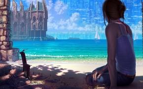 Картинка песок, море, девушка, город, замок, океан, берег, побережье, парусник, стрекоза, арт, крепость, reishin