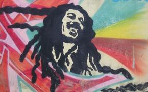 Картинка лицо, улыбка, рисунок, bob marley, дреды