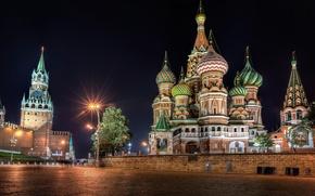 Картинка ночь, Москва, Кремль, Храм Василия Блаженного, Россия, Красная площадь
