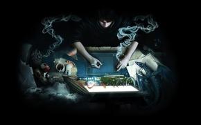 Картинка компьютер, бумага, фантазия, дракон, дым, кофе, пиво, антенна, мышь, сигарета, дирижабль, кружка, листы, банка, планшет, …