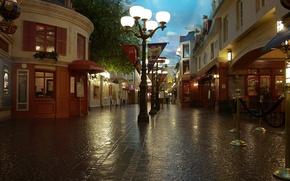 Обои фонари, мостовая, кафе, улица