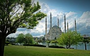 Картинка парк, река, архитектура, river, Турция, park, Turkey, architecture, Mosque, Адана, Sabanci, Adana, Мечеть Сабанджи