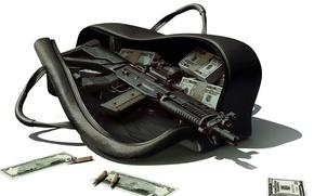 Обои деньги, автомат, сумка