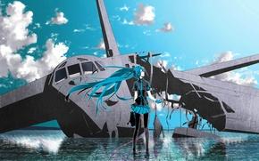 Обои hatsune miku, headphones, вокалоид, самолет, вода, небо, vocaloid, облака