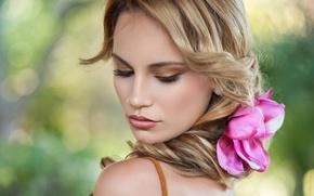 Картинка цветок, лицо, волосы, портрет, блондинка