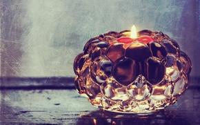 Картинка фото, огонь, стеклянный, свеча, обработка, свечка, подсвечник