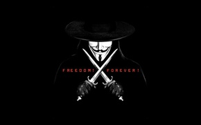 Обои маска, Vendetta, вендетта, черный