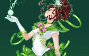 Картинка девушка, зеленый, молния, форма, sailor jupiter, Bishoujo senshi sailor moon, Kino Makoto