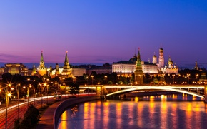 Картинка мост, Москва-река, Большой Краснохолмский мост, Кремль, ночной город, Россия, Москва, набережная, река