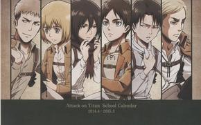 Картинка Shingeki no Kyojin, Eren Jaeger, Mikasa Ackerman, Annie Leonhardt, Armin Arlert