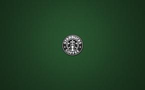 Картинка зеленый, фон, надпись, кофе, слова, coffee, Starbucks