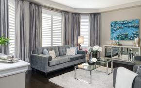 Картинка дизайн, стиль, диван, картина, шторы, столик, гостиная