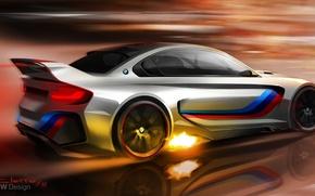 Картинка огонь, рисунок, бмв, concept, арт, BMW Vision Gran Turismo