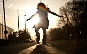 Обои дорога, настроение, танец, девочка
