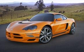 Обои дорога, оранжевый, Dodge, спорт-кар