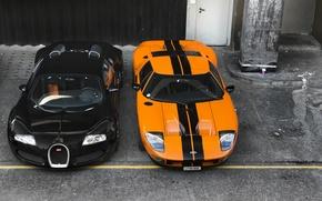Картинка суперкары, Форд, фон, Бугатти, Вейрон, Veyron, Bugatti, чёрный, передок, оранжевый, supercars, Ford