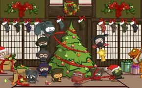 Картинка праздник, игрушки, япония, елка, новый год, рождество, человечки, подарки, ниндзя, new year, merry christmas