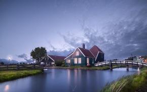 Картинка мостик, вечер, дома, поселок, Нидерланды