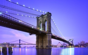 Обои нью-йорк, twilight, сша, usa, new york city, nyc, brooklyn bridge, blue hour