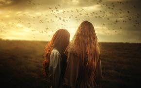 Картинка птицы, арт, две девушки, TJ Drysdale, Written On The Sky