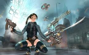 Обои девушка, оружие, арт, Warrior, Women