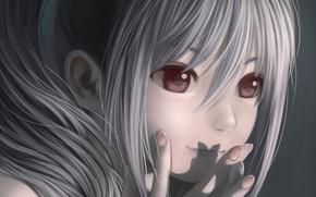 Картинка девушка, лицо, улыбка, тень, аниме, арт, idolmaster, idolmaster cinderella girls, kanzaki ranko, nekopuchi