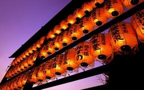 Картинка Вечер, Япония, Фонари