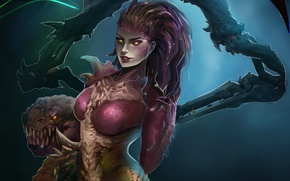Картинка zerg, art, StarCraft, sarah kerrigan, queen of blades